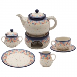 TEA COFFEE SET FOR 6 Teapot Warmer Cups Plates Sugar bowl Milk jug