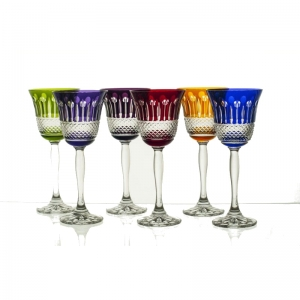 Crystal wine glasses 170 ml colored SET of 6