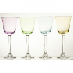 Crystal wine glasses 220 ml colored FLUO SET of 4